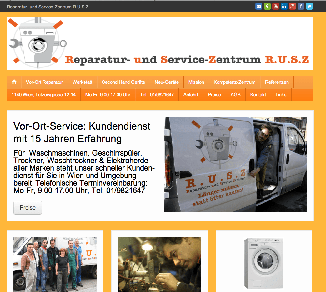 RUSZ Webseite Screenshot